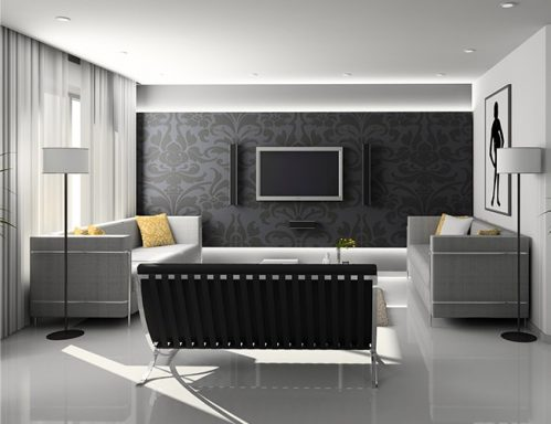 black and white property interior
